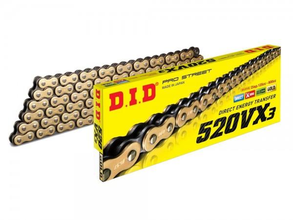 DID 520 VX3 Kette (118G) gold/black, Zugfestigkeit 36500 KN